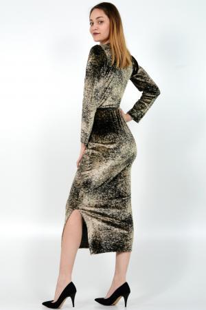 Γυναικείο φόρεμα velvet earth print κρουαζέ